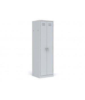 Шкаф металлический разборный двухсекционный повышенной жесткости для хранения одежды